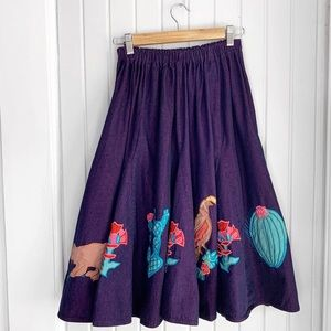 VTG Purple Southwest Cactus Cowgirl Denim Skirt